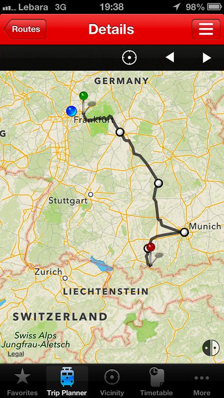 Peta perjalanan ke Fussen